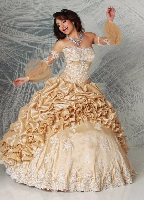 Vestido Champagne Bola Vestidos Quinceaneara 2017 Destacável do vintage Mangas Compridas Tafetá Meninas Doce 15 16 Vestidos de Festa Novo 2017
