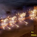 5 М 50led 16.5FT AA батарейках напольный медной проволоки фея свет шнура для праздник рождества христова свадьба декор освещение