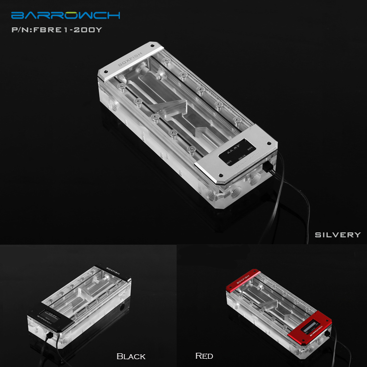Black,Silver,Red FBRE1 200Y Barrowch box fish water tank acrylic square OLED temperature display pc reservoir 150/200/250mm