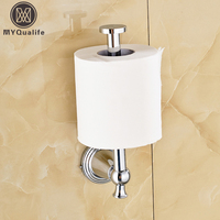 Wholesale and Retail Wall Mount Toilet Paper Roll Holder Wall Standing Bathroom Brass Chrome Paper Tissue Rack Bar