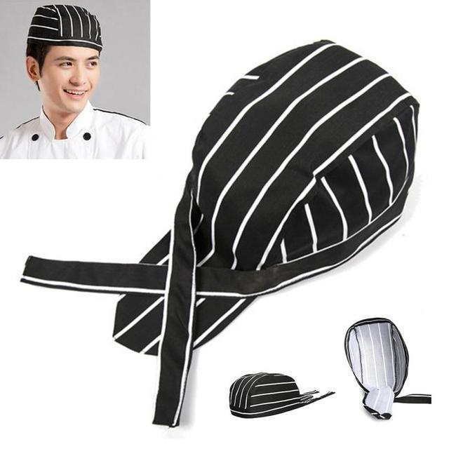 Korean Pirate Chef hat cap Cooking Cap Working Cap Cloth Plaid Striped  Plain cap restaurant waitress Hat 36b4861d93a