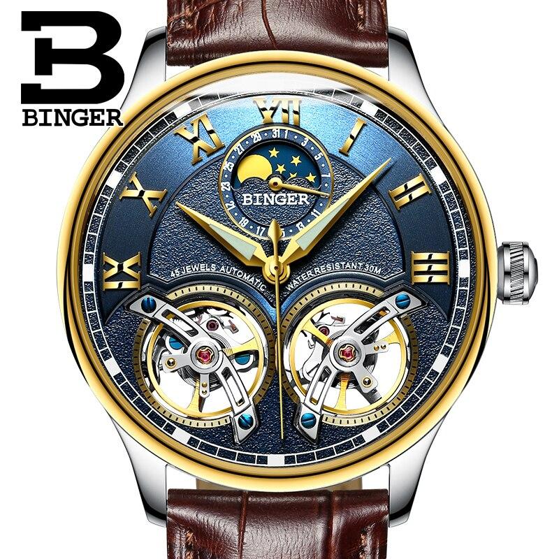 3ed1c8c25bb BINGER Relógios Mecânicos Automáticos de Esqueleto Para Homens Fase Da Lua  Pulseira de Couro Genuíno Relógio Luminoso Relógio dos homens de Luxo  relogio em ...