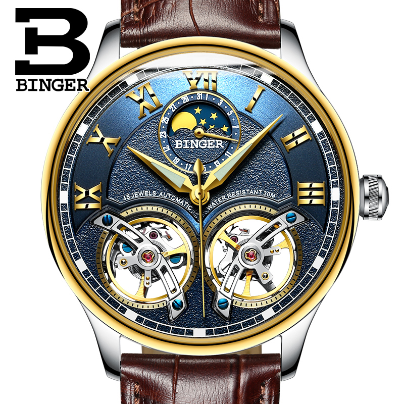 BINGER Skeleton Automatic Mechanical Watches For Men Moon Phase Genuine Leather Strap Clock Luminous Luxury Watch Men's relogio free shipping time100 top brand sun moon phase taichi pattern genuine leather strap skeleton automatic mechanical watches clock