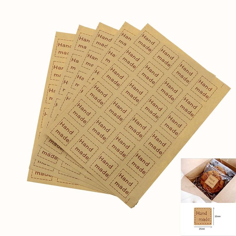 Handmade Sticker 120pcs / 25 * 25mm Vintage Sticker Kraft Paper Label DIY Handmade Gift Cake Baking Seal Sealing Sticker