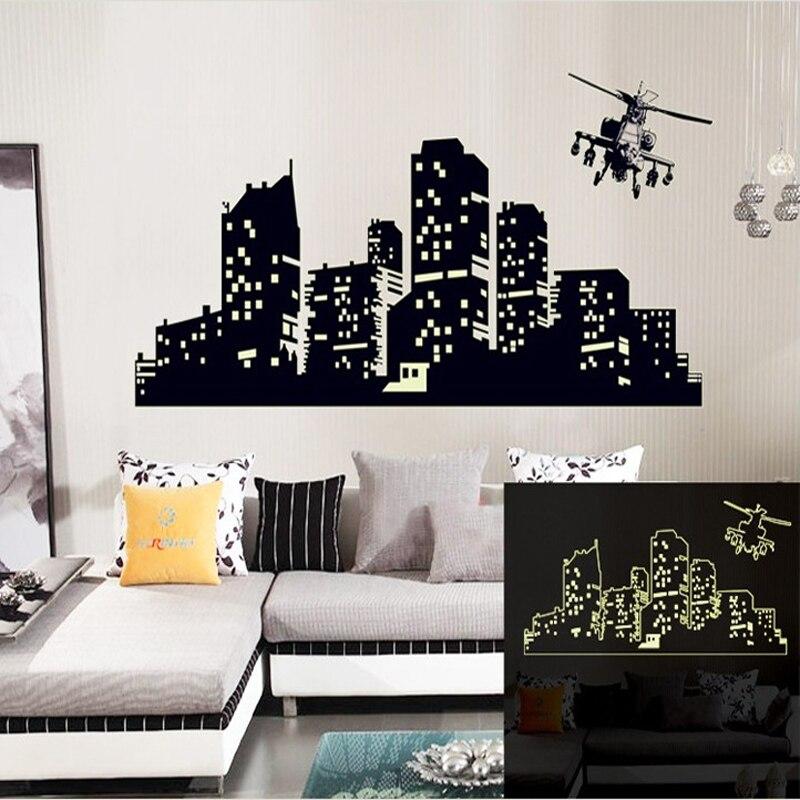 Grand Fluorescent Lumineux vinyle Stickers Muraux Ville de la nuit ciel Stickers muraux pour enfants chambre ou salon Lueur dans le foncé