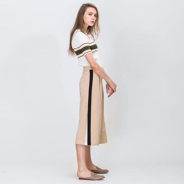 Contrast Color Striped Stitiching Regular Waist Loose Calf-Length Wide leg Pants Fashion
