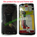 2 pcs 100% original para huawei ascend d1 u9500 preto painel de tela sensível ao toque lcd branco + touch screen digitador + quadro assembléia