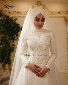 Image 2 - Liyuke Vestido De Noiva 2019 Elegante Lange Mouw O Hals Moslim Trouwjurken Tulle Zipper Back Lace Islamitische Bruidsjurken