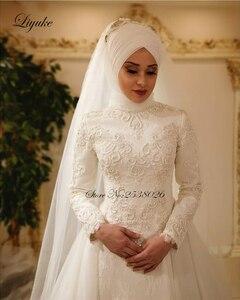 Image 2 - Liyuke Vestido דה Noiva 2019 אלגנטי ארוך שרוול O צוואר מוסלמי חתונת שמלות טול ציפר חזור תחרה האסלאמית שמלות כלה