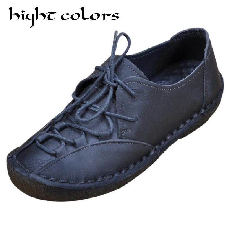 Genuine leather Shoes Woman 2018 New Solid Lace Up Boat Shoes For Women Flats Shoes Big Size 35-41 loafers chaussure femme girls fashion punk shoes woman spring flats footwear lace up oxford women gold silver loafers boat shoes big size 35 43 s 18