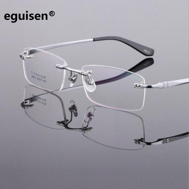 91e2aa08f Width-145 cara grande homem de negócios masculino miopia óculos sem aro de  titânio Puro
