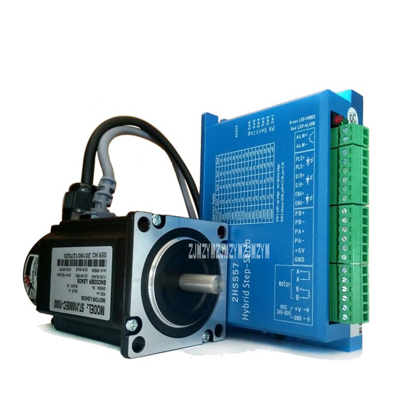 57J1880EC-1000+2HSS57 High Speed Stepper Motor Servo Driver Set 2.2N.M 24V Hybrid Servo Closed Loop 2-phase Stepper Motor Driver