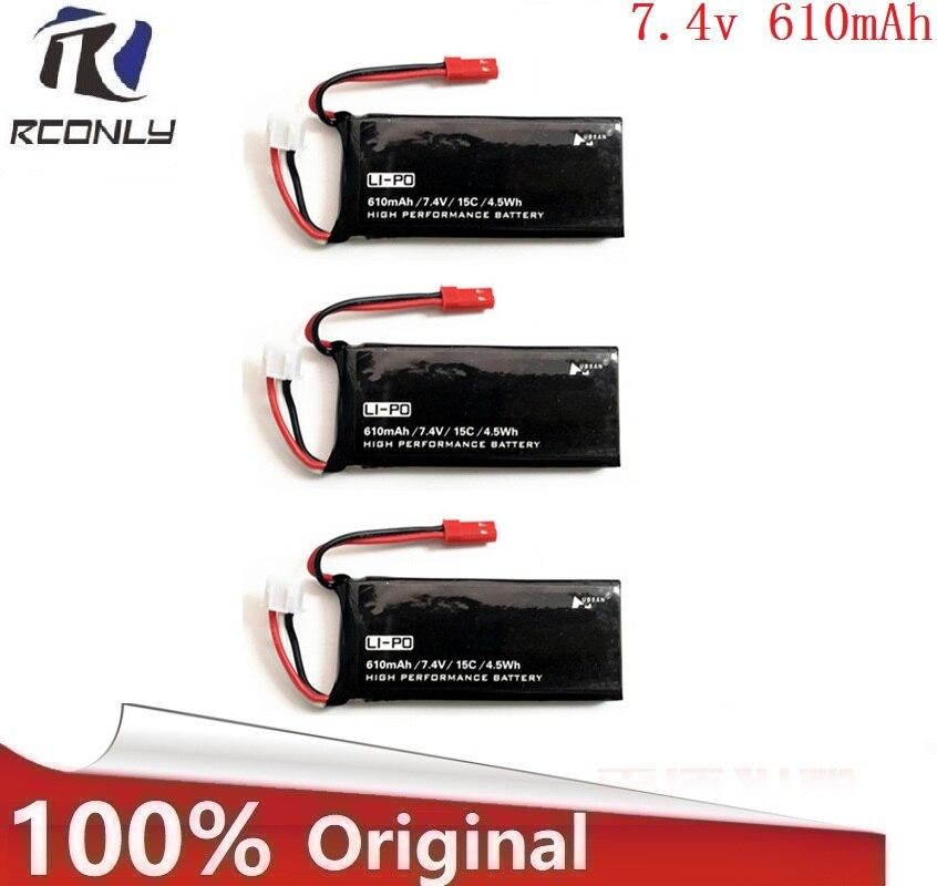 Original Hubsan X4 H502S H502E 7,4 V 610mAh batería de lipo de 15C 4.5WH Batería 2S de enchufe JST para componentes para drones/cuadcópteors RC