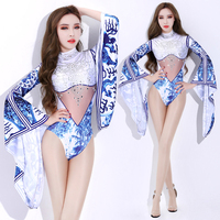 blue and white porcelain bar ds rhinestone performance new sexy nightclub show DJ singer lead dance stage suit woman