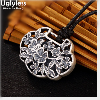 Uglyless Real 999 Thai Fine Silver Women Vintage Engraved Flower Pendants without Necklaces Sweater Ethnic Hollow Jewelry Bijoux