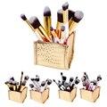 Todo en 1 10 Unids Maquillaje Pinceles Set Kits de Herramientas Cosméticas Blush + Caja Del Sostenedor de Cepillo Sombra de Ojos de Oro delineador de ojos Cepillo de Base