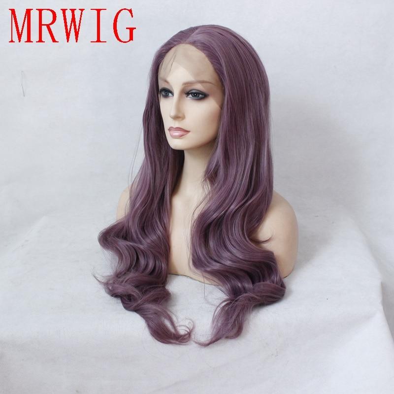 MRWIG Real Natural Looking Blandad Lila Lång Vågig Mellandel - Syntetiskt hår - Foto 3