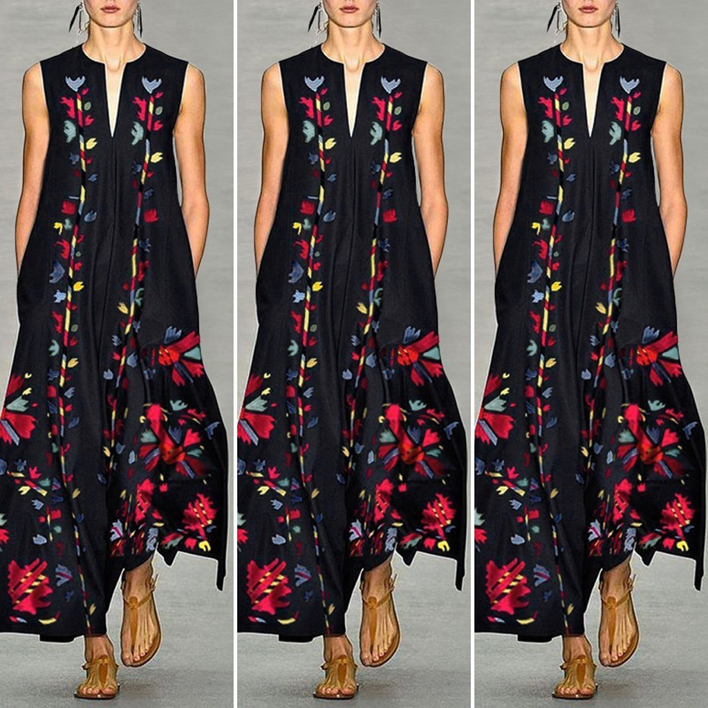 New Fashion Women Vintage Daily Casual Sleeveless Sleeveless V-Neck Printed Floral Summer Long Dress Wholesale Free Ship Z4