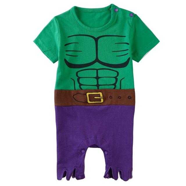 Bébé Garçons Hulk Barboteuses Toddler Costume D'été Manches Courtes En Coton 0-24 Mois