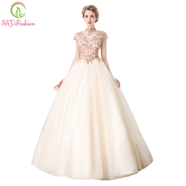 SSYFashion High end Banquet Elegant Champange Lace Prom Dress High ...