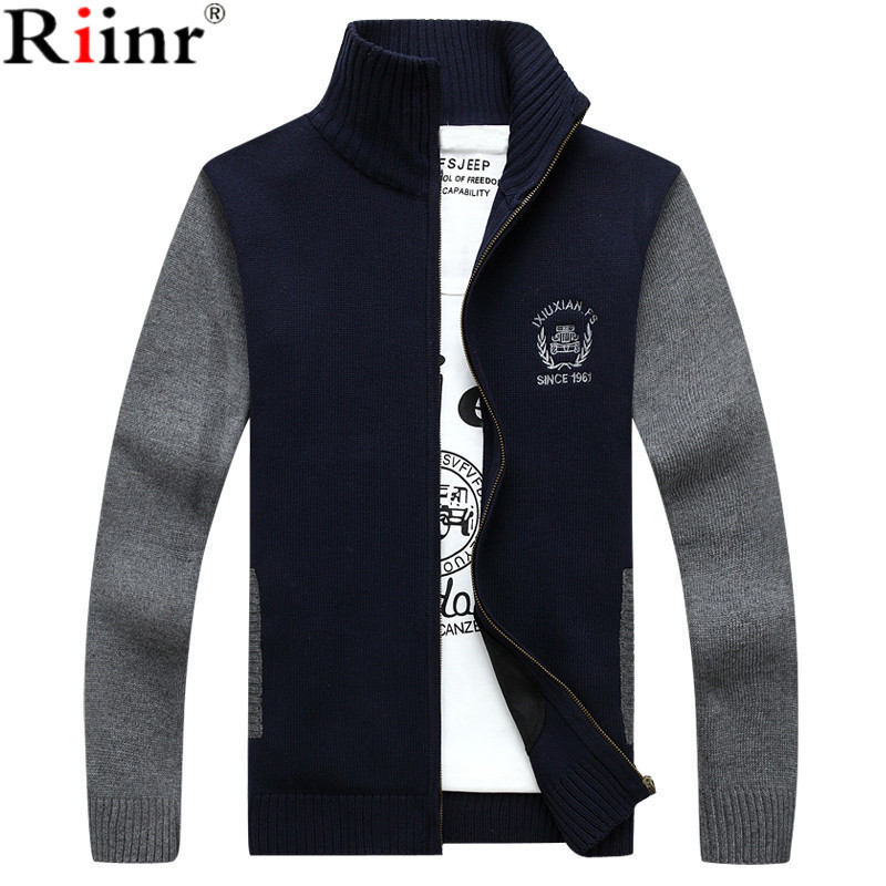Riinr 2018 Brand New Arrival Mens Cardigan High Quality Winter Warm Fashion Patchwork Design Long Sleeve Mens Knitted Sweaters
