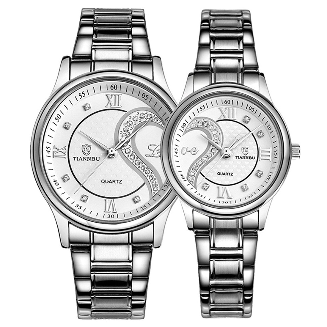 TIANNBU Couple Watches Quartz Waterproof Wrist watches for Lovers Pair white Dial Stainless Steel Band fashion couple s stainless steel digital quartz wrist watches silver white 1 x 377 2 pcs