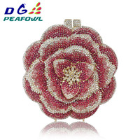 Custommade Diamond Opal Flower Shape Clutch Women Gold Crystal Hard Metal Bridal Purse And Handbag Wedding Evening Clutches Bags