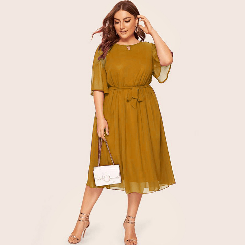 Summer Beach Dress Women 2019 Choker V-neck A Line Ruffle Flare Sleeve Midi Dresses Holiday Chiffon Yellow Vestidos De Verano(China)
