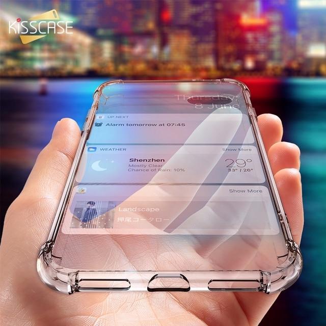 KISSCASE Cas Pour l'iphone X 6 7 8 Plus Téléphone Cas Pour iPhone XS Max XR 5S 5 SE 7 clair Antichoc En Silicone Souple Transparent Cas