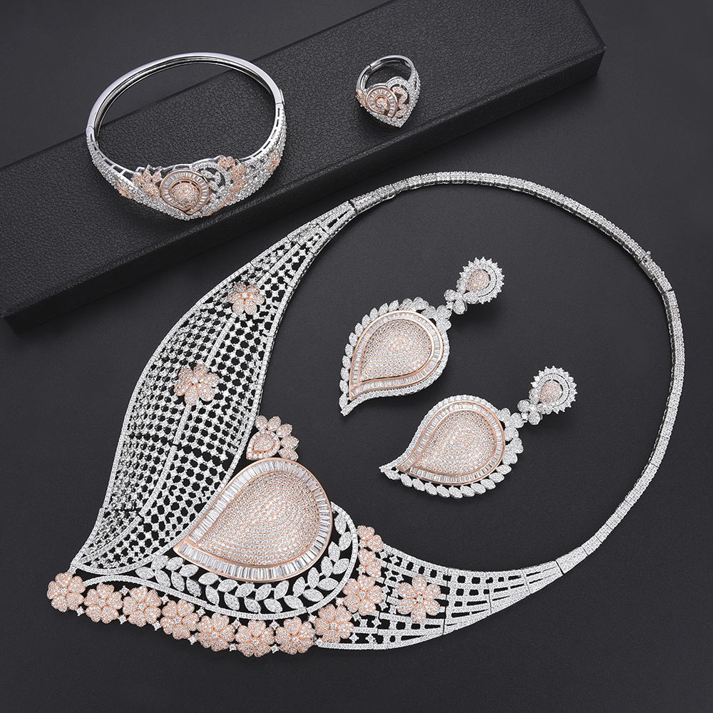 Women Waterdrop Hollow Ethiopian Jewelry Sets CZ Nigerian African Dubai Wedding Necklace Earrings Bracelet Ring Jewelry Set Women Waterdrop Hollow Ethiopian Jewelry Sets CZ Nigerian African Dubai Wedding Necklace Earrings Bracelet Ring Jewelry Set