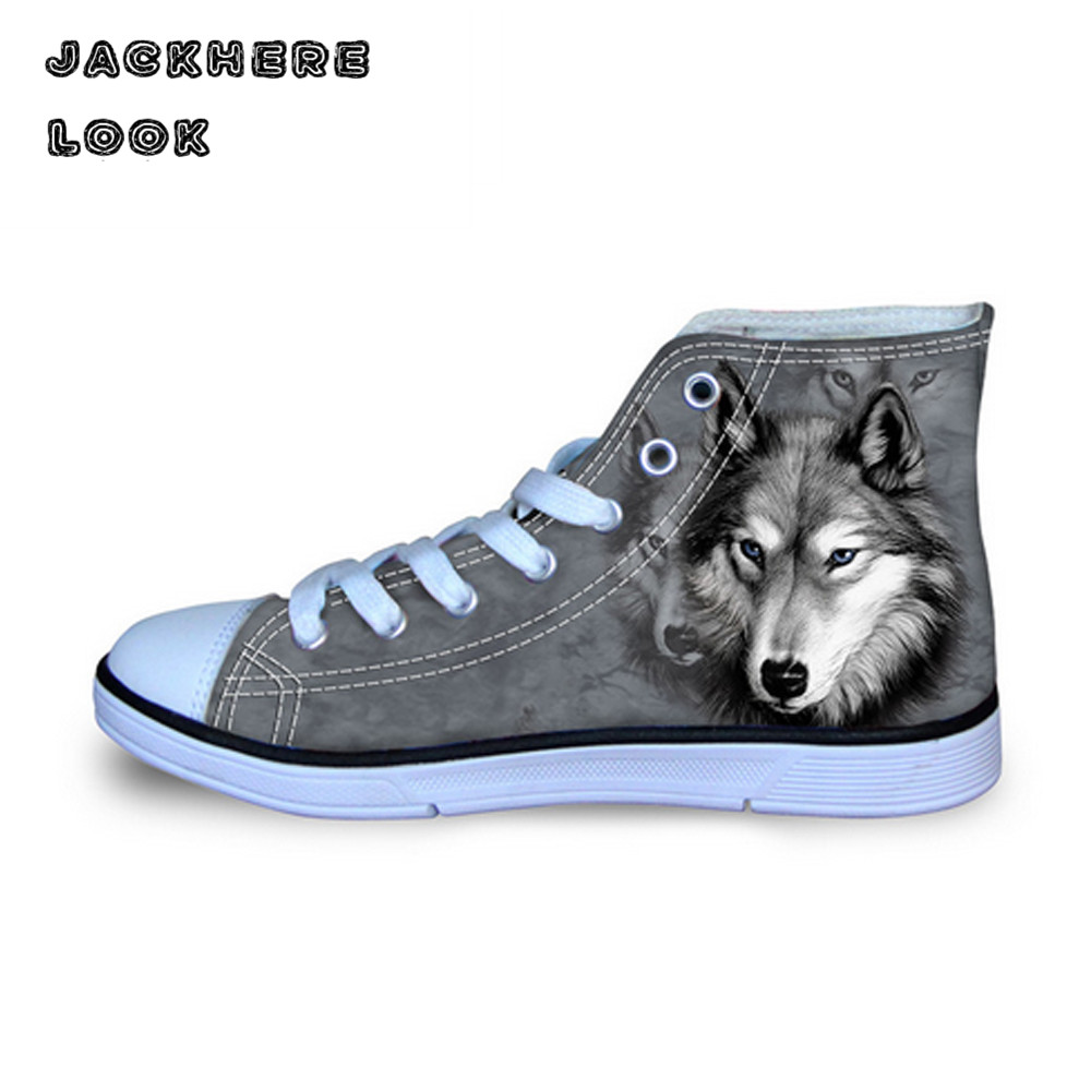JACKHERELOOK 3D Animal Husky Canvas Shoes White Wolf Printed Women High Top Flats Casual Dog Female Lace Up Breathable Vulcanize vintage embroidery women flats chinese floral canvas embroidered shoes national old beijing cloth single dance soft flats