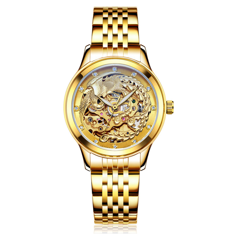 gold clock LAOGESHI Luxury Dragon phoenix women watch men hollow engraving automatic mechanical watches Orologio Donna