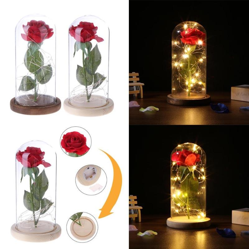 LED Artificial Rose Flower with Lighting Strings Romantic Wedding Decor Glass Cover with Wooden Base for Christmas Birthday Gift artificial flower bunch with 9pcs rose