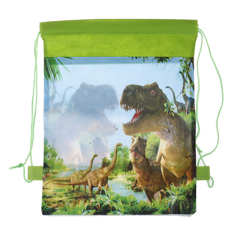 Birthday Party Boys Favors Cartoon Cute Dinosaur Theme Decorate Non-woven Fabric Baby Shower Drawstring Gifts Bags