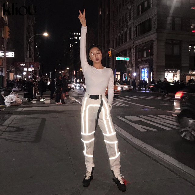 Kliou women fashion street Reflective patchwork cargo pants 2019 new arrival zipper fly with sashes pockets knitted trousers