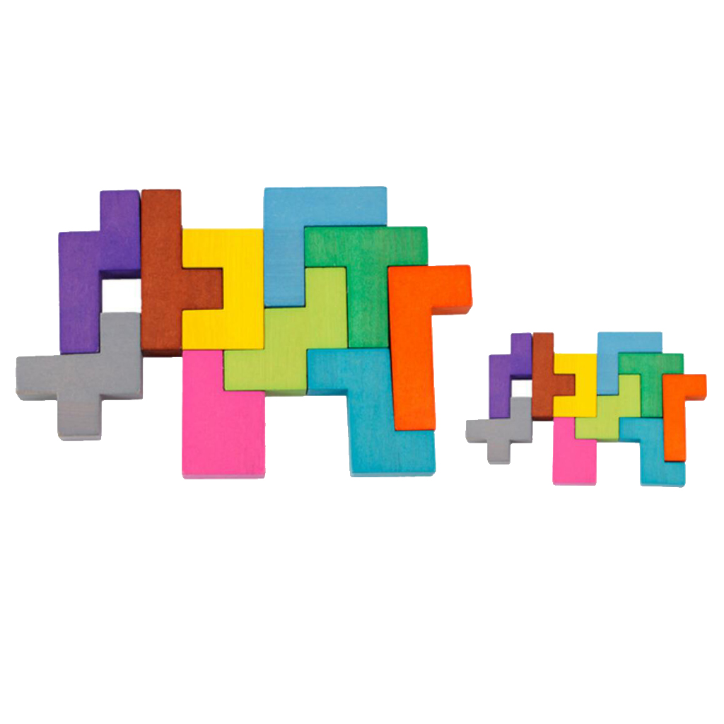 New Kids Colorful Wooden Tetris Puzzle Jigsaw Childrens Educational Toys Brain Teaser Game Intelligence Preschool Kids Toy