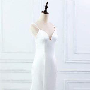 Image 5 - E JUE SHUNG beyaz basit yaz denizkızı gelinlik v yaka spagetti sapanlar Backless Boho gelinlikler robe de mariage