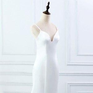 Image 5 - E 覚 SHUNG 白シンプルな夏のマーメイドウェディングドレス V ネックスパゲッティ背中自由奔放に生きるウェディングドレスローブ · デ · マリアージュ