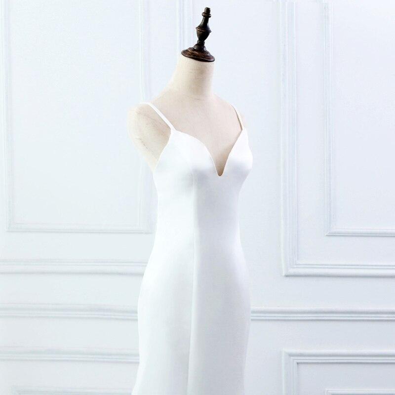 Image 5 - E jue shung branco simples verão sereia vestidos de casamento v  neck cintas de espaguete backless boho vestidos de casamento robe de  mariageVestidos de Noiva