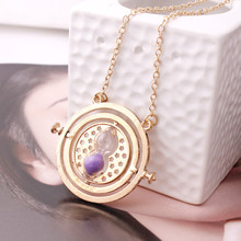 Hot Sale Harry Potter Time Turner Necklace Hermione Granger Rotating Spins Gold Hourglass L188