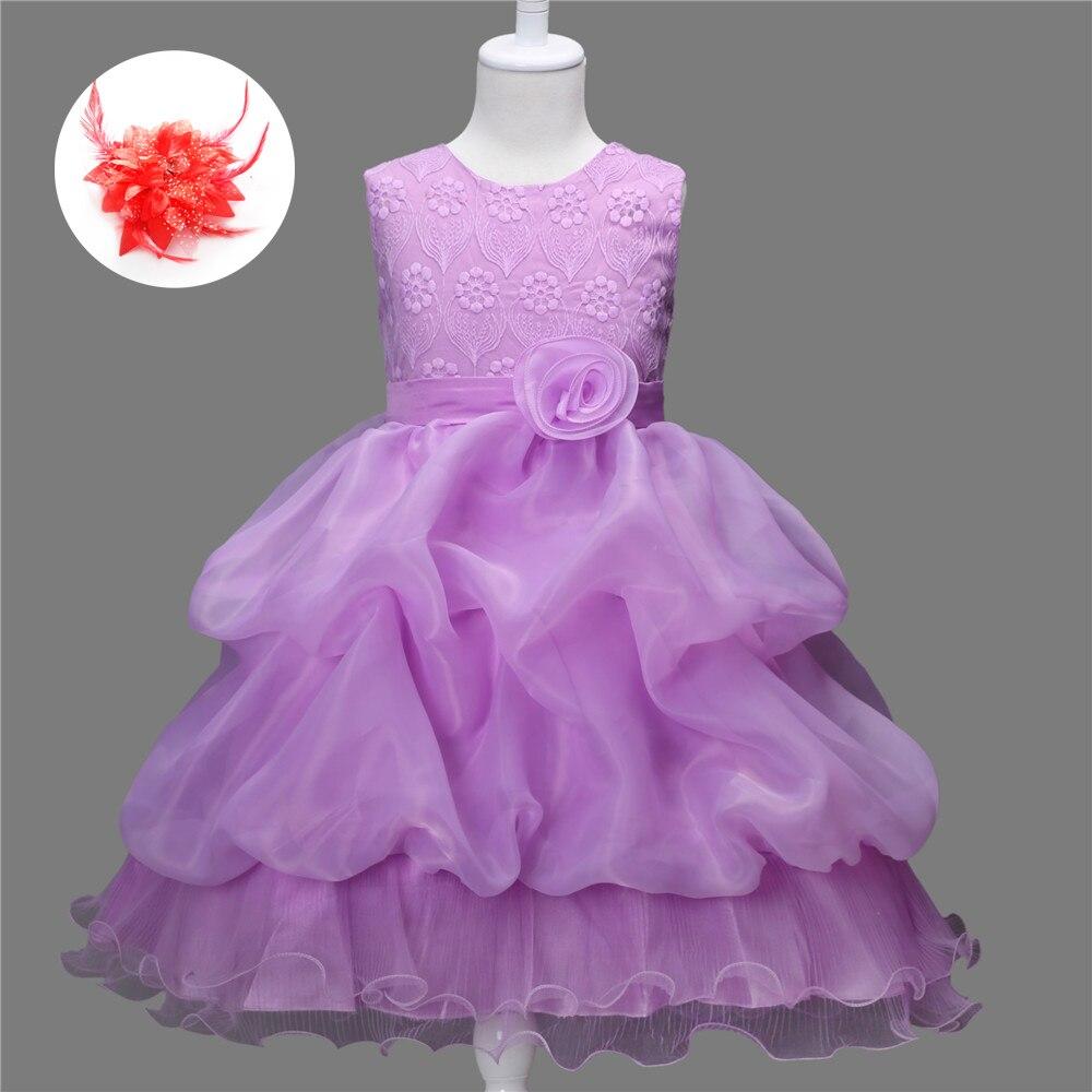 6 colores rojo rosa flor Niñas vestido para el Partido y la boda ...