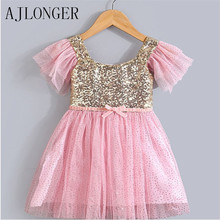 Fashion 2016 Brand Girl Dress Summer 2-8 Age Lace Baby Girls