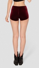 Velvet Wine Red High Waist shorts PLUS SIZE