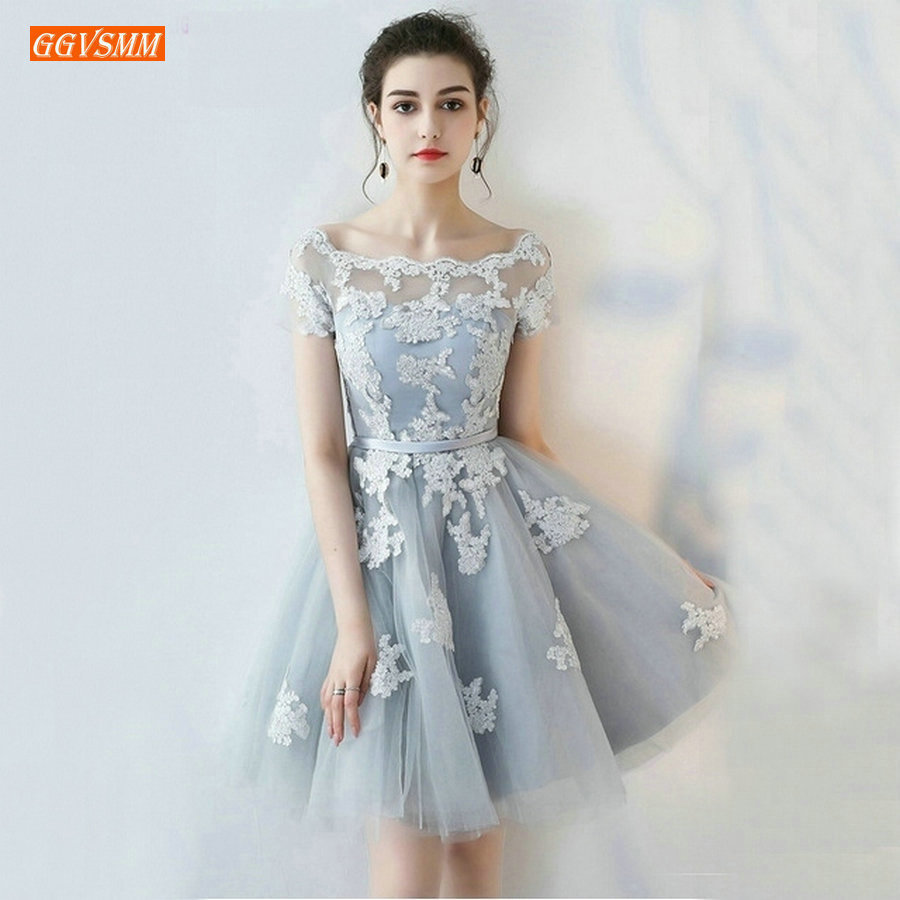 Sexy Silver Cocktail Dresses 2019 New Scoop Tulle Appliques Lace Up Knee Lingth Prom Dress Short