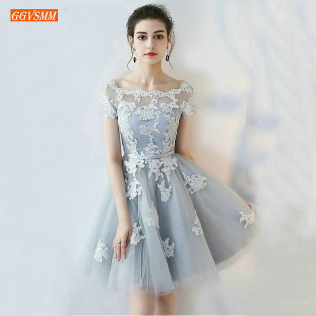 ffd3961f3a9 Sexy Silver Cocktail Dresses 2019 New Scoop Tulle Appliques Lace-Up Knee-Lingth  Prom Dress Short Formal Cocktail Party Gowns
