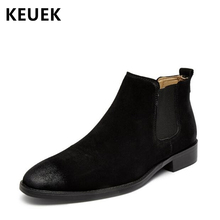 Spring Autumn Men Chelsea boots Split Leather Pointed Toe Ankle Martin boots Outdoor Slip-On Male shoes Motorcycle boots 02A