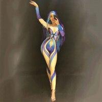 Acrobatic Female Singer Opening Model Show Rhinestone Butterfly Shape Jumpsuit Nightclub Women Performance Stage wear DJ355
