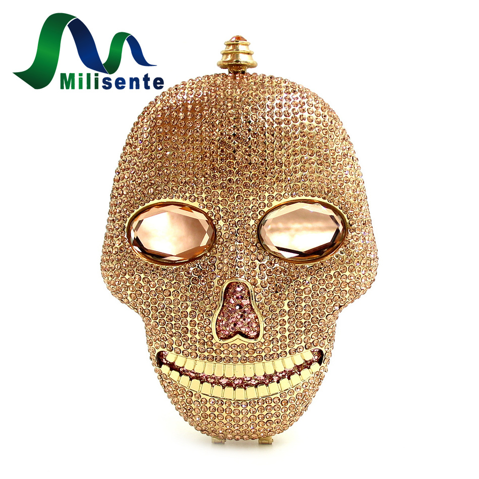 ФОТО New Women Halloween Skull Bags Crystal Evening Bag Gold Clutches Silver Handbag Mini Day Clutch Lady Party Purse With Chain