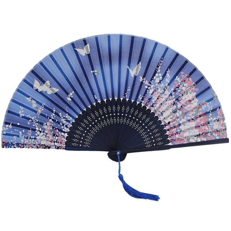 Folding Hollow Carved Bamboo Wood Silk Folding Fan Chinese Japanese Vintage Retro Style Handmade Silk Black Hand Fan