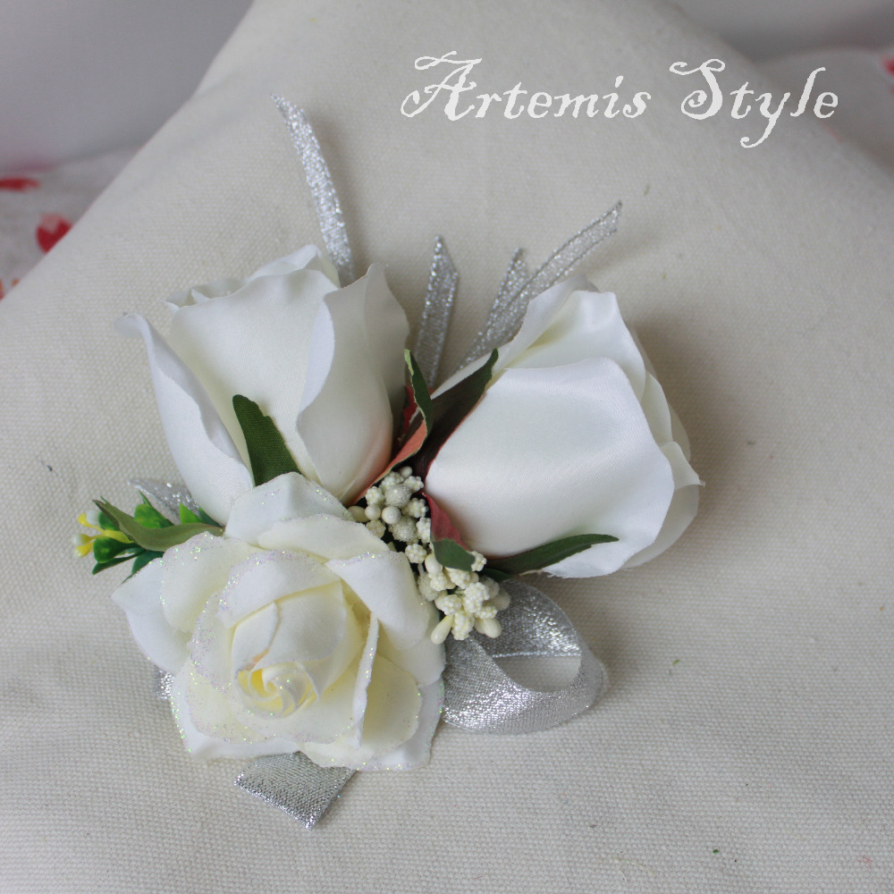 White Rose Wrist Flowers Party Banquet Prom Wrist Corsage Wedding